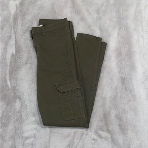 H&M Army Green Cargo Skinny Pants Forest Pockets